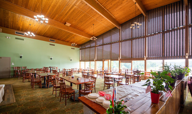 The lodge restaurant at Tygart Lake State Park offers scenic views.
