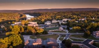 The summer sun sets over the campus of Shepherd University at Shepherdstown, West Virginia.