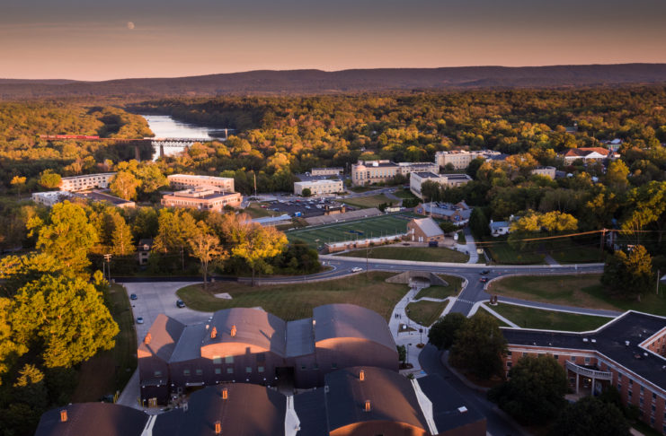 The summer sun sets over the campus of Shepherd University at Shepherdstown, West Virginia.