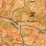 Burnt House, WV, appears along Grass Run, a tributary of the South Fork of the Hughes River, in a 1906 Topographic Map.