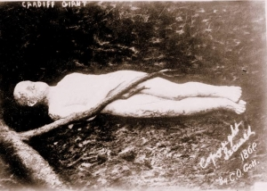 An image of the Cardiff Giant, later revealed as a hoax.