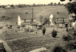 Company houses and backyard gardens climb the hillsides at Grant Town in northern West Virginia.