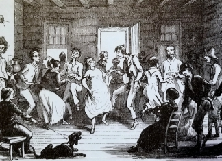 """Dance"" by Porte Crayon, an illustration for Harper's New Monthly Magazine; May 1872."
