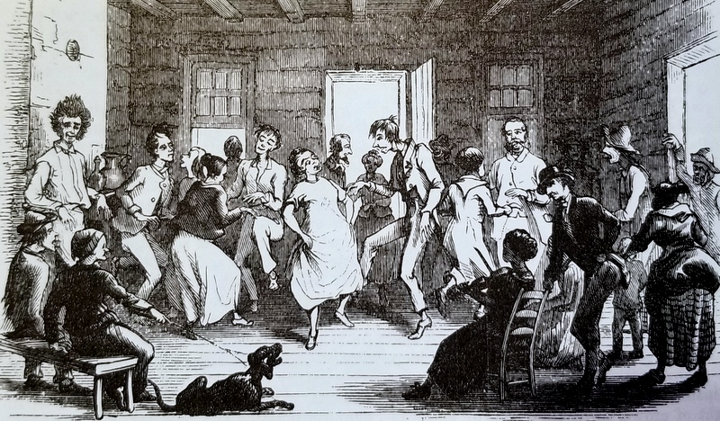 """""""Dance"""" by Porte Crayon, an illustration for Harper's New Monthly Magazine; May 1872."""