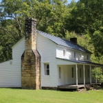 The restored home of Moses Cunningham stands near the battlefield in the Bulltown Historical Area.