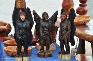 Including this trio of mothmen are among the many items for sale during the festival.