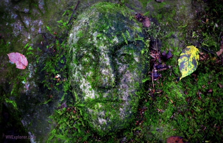 Mysterious stone face attracting curious in New River Gorge