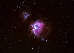 The Orion Nebula appears in the sword of the constellation Orion.