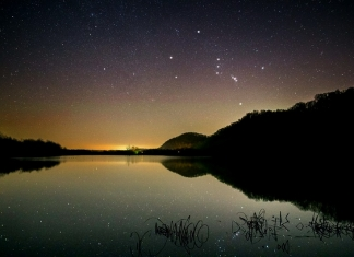 The constellation Orion rises above the Ohio Valley in West Virginia.