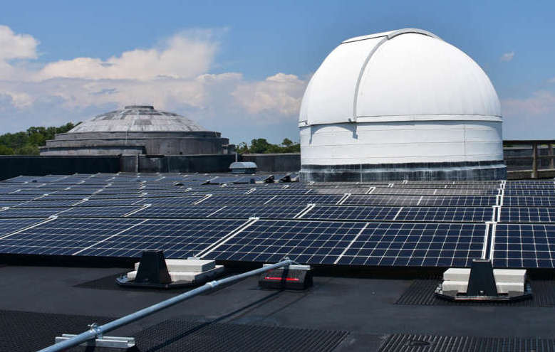 Solar panels cover the Scarborough Library at Shepherd University.