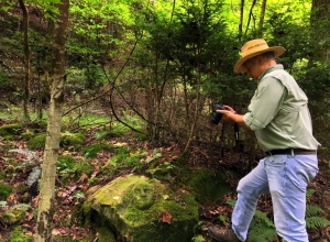 David Sibray investigated the stone face in the New River Gorge near Fayetteville, West Virginia.