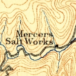 An early topographic map shows Mercer's Salt works on Lick Creek, then in Mercer County, West Virginia.