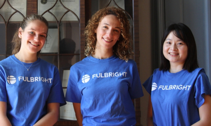 Fulbright Scholars Léa Serres, left, Aya Atwa, and Chu-Yun Hsueh will teach language courses in French, Arabic, and Chinese at Bethany College in the 2019-2020 academic year.
