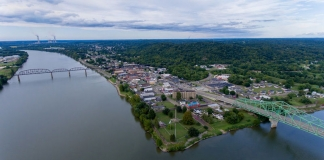The community of Point Pleasant extends into the distance from the junction of the Ohio (left) and Kanawha (right) rivers.