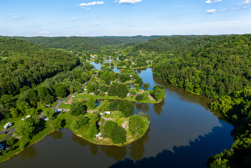 Campers lodge in idyllic coves at Beech Fork State Park.