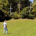 David Sibray visits a set of Coffindaffer's Crosses off U.S. 19 at Herold Road.