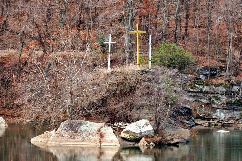 Three well known crosses above Kanawha Falls stand out against autumn leaves.