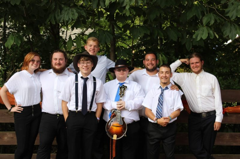 Members of the Glenville State College Bluegrass Band, left to right, include Lydia Boyd, Alex Leport, Logan Phares, Isaac Putnum, Chase Arbogast, Nick Blake, Sammy Murphy, and George Lilly.