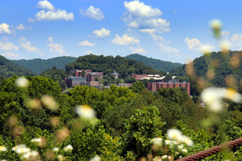 Glenville State College rises on a hill alopng the Little Kanawha River at Glenville, West Virginia.