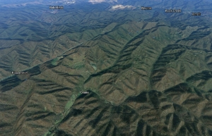 This Google Earth image shows Crany, West Virginia, and Guyandotte Mountain in the near distance.