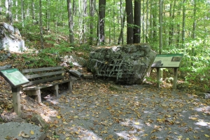 A bench and informational signage flank a honeycombed rock in Pocahontas County, West Virginia.
