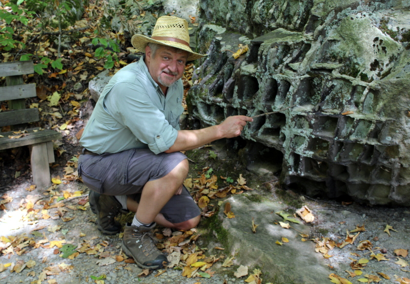 David Sibray explores boulders along the Honeycomb Rocks Trail in Pocahontas County, near Marlinton, West Virginia.