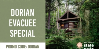 West Virginia is offering discounts on all lodge rooms, cabins, and campsites to those seeking shelter from Hurricane Dorian.
