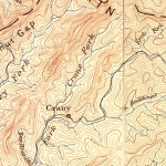 Mountain rise more than 2,000 feet above Crany, West Virginia, in Wyoming County, on an 1891 topo map.