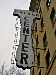 Sign on the historic Palace Furniture Building in Clarksburg, West Virginia.