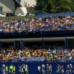 Students at Alderson Broaddus University cheer the Battlers at George Byrer Field.