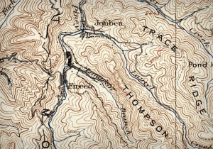 A topographic map shows the hills and ridges around Fireco, West Virginia, in the 1930s.