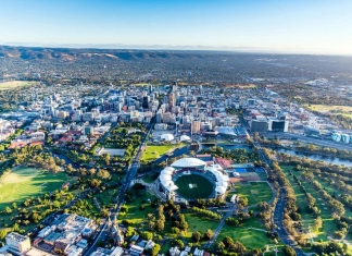 Adelaide, Australia, extends toward the Mount Lofty Ranges.