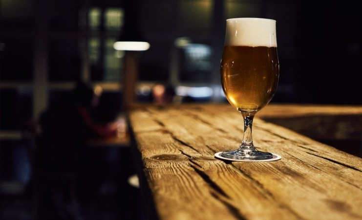 A craft beer waits a thirsty patron at a West Virginia brewery.