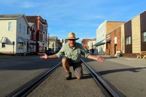 David Sibray surveys Second Street in downtown Saint Marys, West Virginia.