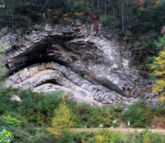 The Devil's Backbone in Pocahontas County rises along Knapp Creek near Marlinton, West Virginia.