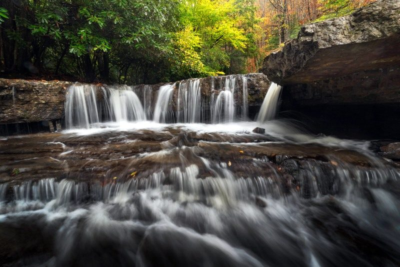 Autumn rains have replenished the Mash Fork of Camp Creek at Camp Creek State Park.