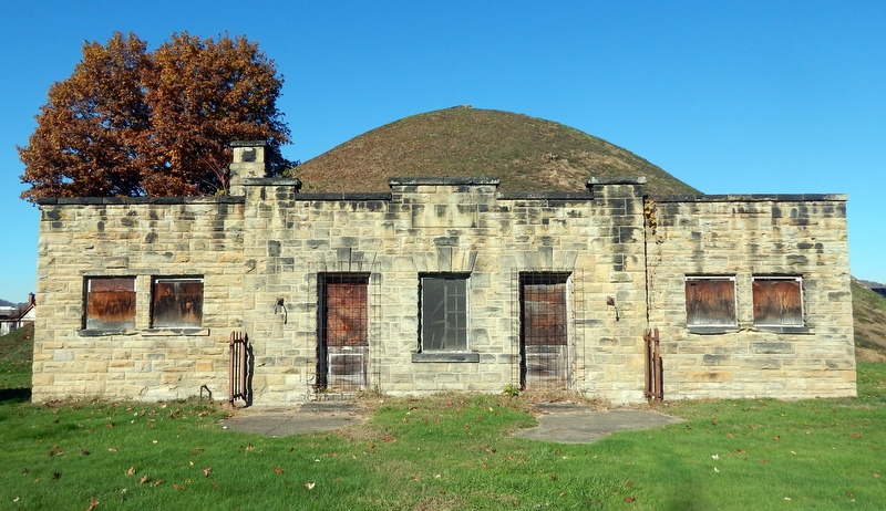 The old museum outbuilding at the Grave Creek stands near the south edge of the mound.