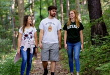 Students at Bethany College stroll the Parkinson Forest.