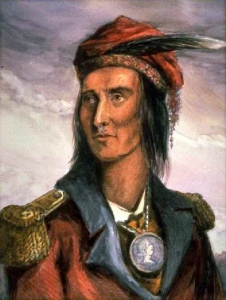 """""""Tecumseh""""—from John Lossing's engraving in wood after a pencil sketch by Pierre Le Dru taken about 1808."""