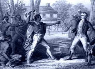 Tecumseh confronts William Henry Harrison
