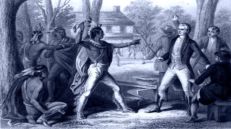 Tecumseh confronts William Henry Harrison