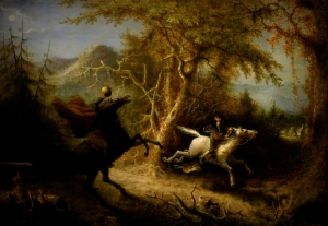The Headless Horseman Pursuing Ichabod Crane by John Quidor (1858)