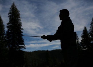 An angler cast for trout in the West Virginia highlands.