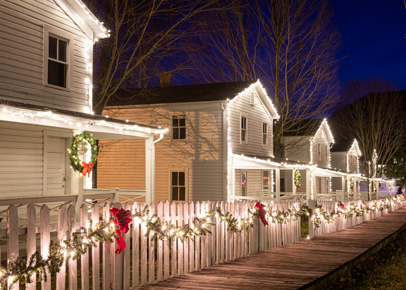 Holiday lights twinkle in the historic district at Cass, West Virginia.