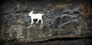 A memorial to a legendary goat that lived along U.S. 19 appears on a cliff.