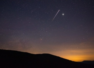 The International Space Station flies over the Allegheny Mountains in West Virginia. (Photo courtesy Jesse Thornton)