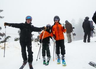 Skiers celebrate the beginning of ski season 2019-2020 at Snowshoe Mountain.