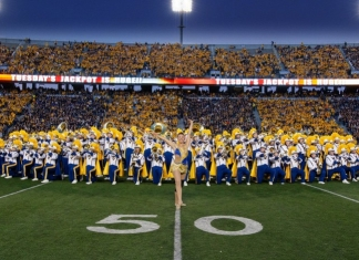 The Mountaineer Marching Band performs during pregame of a WVU football game.