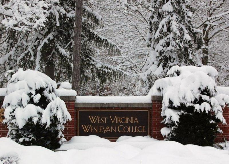 The campus at West Virginia Wesleyan welcomes another fresh winter snow.