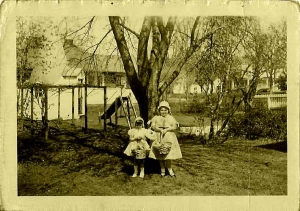 Alice and Heather McClure stand in front of the cone in Marlinton in 1954.